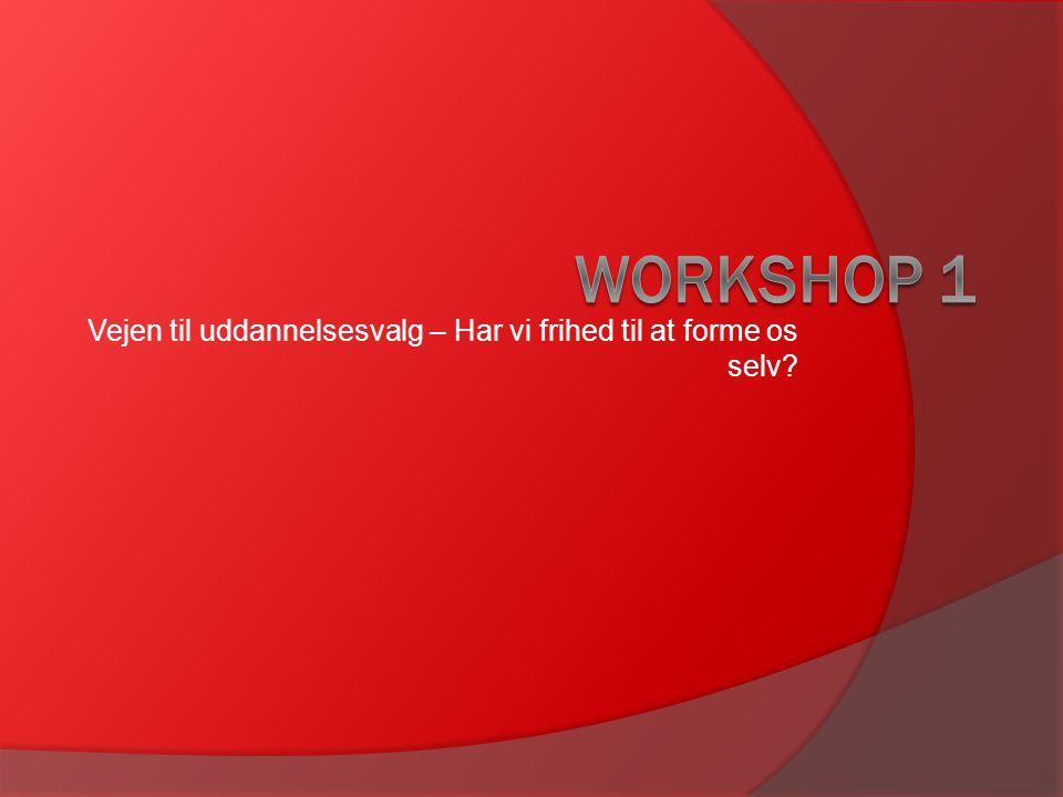 Ide med workshop  At udforske og diskutere forhold, der har betydning for unges uddannelsesvalg.