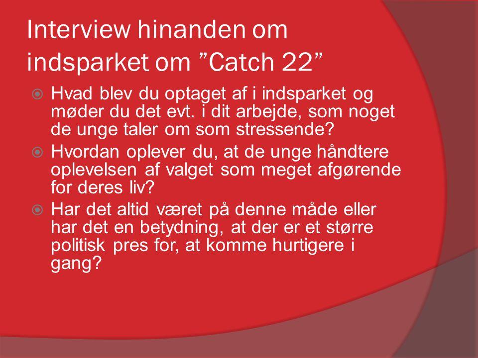 """Interview hinanden om indsparket om """"Catch 22""""  Hvad blev du optaget af i indsparket og møder du det evt. i dit arbejde, som noget de unge taler om s"""