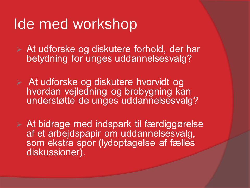 Ide med workshop  At udforske og diskutere forhold, der har betydning for unges uddannelsesvalg?  At udforske og diskutere hvorvidt og hvordan vejle