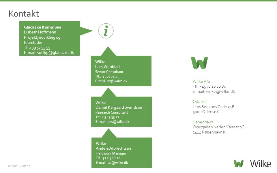 © 2012 – Side 20 Wilke A/S Tlf. +45 70 10 20 80 E-mail: wilke@wilke.dk Odense Jens Benzons Gade 54B 5000 Odense C København Overgaden Neden Vandet 9C