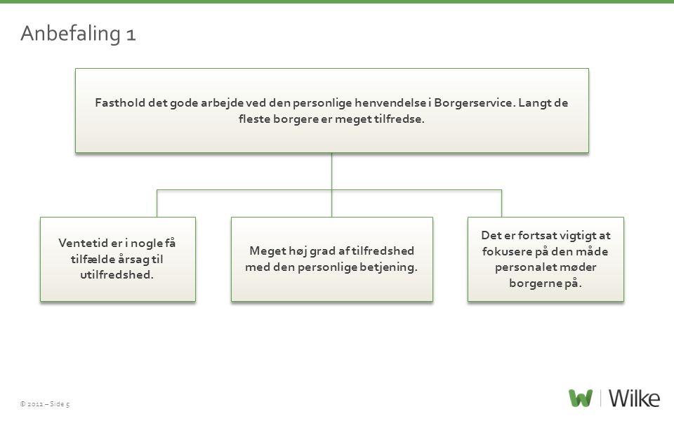 © 2012 – Side 5 Anbefaling 1 Fasthold det gode arbejde ved den personlige henvendelse i Borgerservice. Langt de fleste borgere er meget tilfredse. Ven