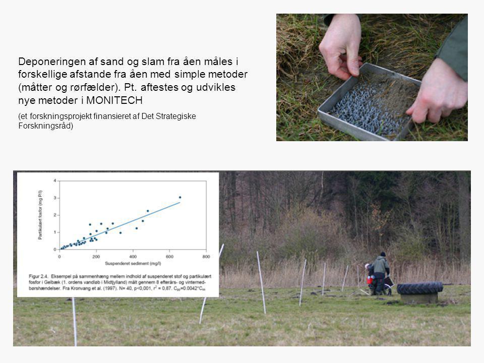 Deponeringen af sand og slam fra åen måles i forskellige afstande fra åen med simple metoder (måtter og rørfælder). Pt. aftestes og udvikles nye metod