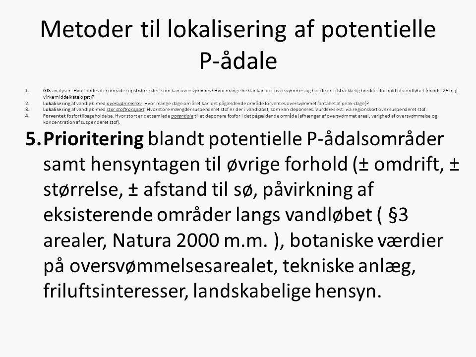 Metoder til lokalisering af potentielle P-ådale 1.GIS-analyser. Hvor findes der områder opstrøms søer, som kan oversvømmes? Hvor mange hektar kan der