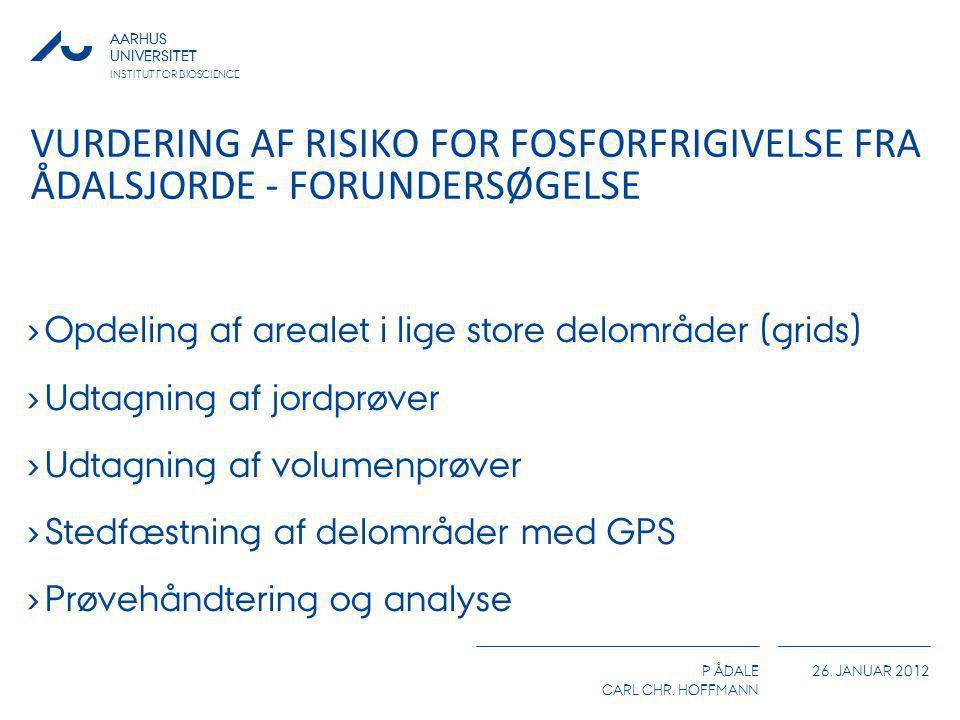 AARHUS UNIVERSITET P ÅDALE CARL CHR. HOFFMANN 26. JANUAR 2012 AARHUS UNIVERSITET INSTITUT FOR BIOSCIENCE VURDERING AF RISIKO FOR FOSFORFRIGIVELSE FRA