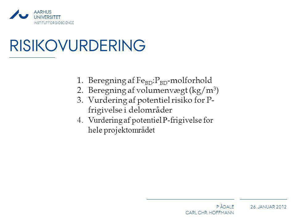 AARHUS UNIVERSITET P ÅDALE CARL CHR. HOFFMANN 26. JANUAR 2012 AARHUS UNIVERSITET INSTITUT FOR BIOSCIENCE RISIKOVURDERING 1.Beregning af Fe BD :P BD -m