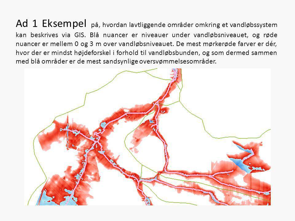 Ad 1 Eksempel på, hvordan lavtliggende områder omkring et vandløbssystem kan beskrives via GIS. Blå nuancer er niveauer under vandløbsniveauet, og rød