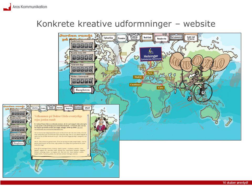 Konkrete kreative udformninger – website