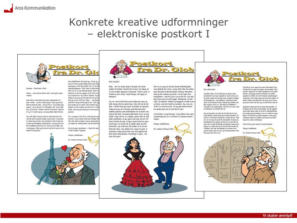 Konkrete kreative udformninger – elektroniske postkort I
