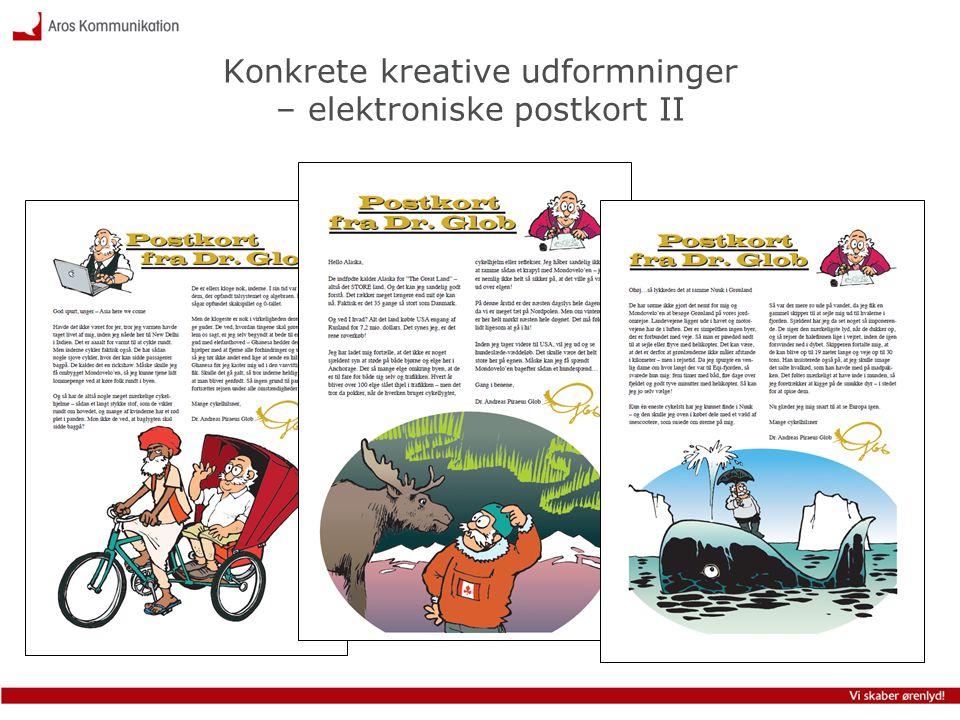 Konkrete kreative udformninger – elektroniske postkort II