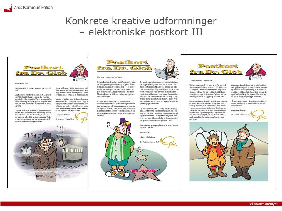 Konkrete kreative udformninger – elektroniske postkort III