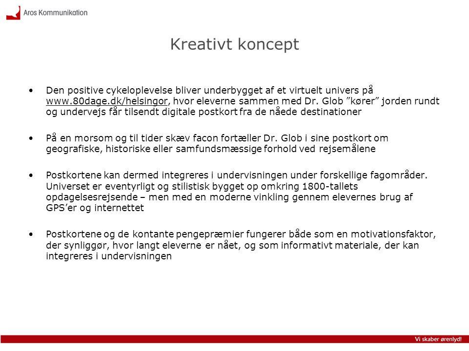 Kreativt koncept •Den positive cykeloplevelse bliver underbygget af et virtuelt univers på www.80dage.dk/helsingor, hvor eleverne sammen med Dr. Glob