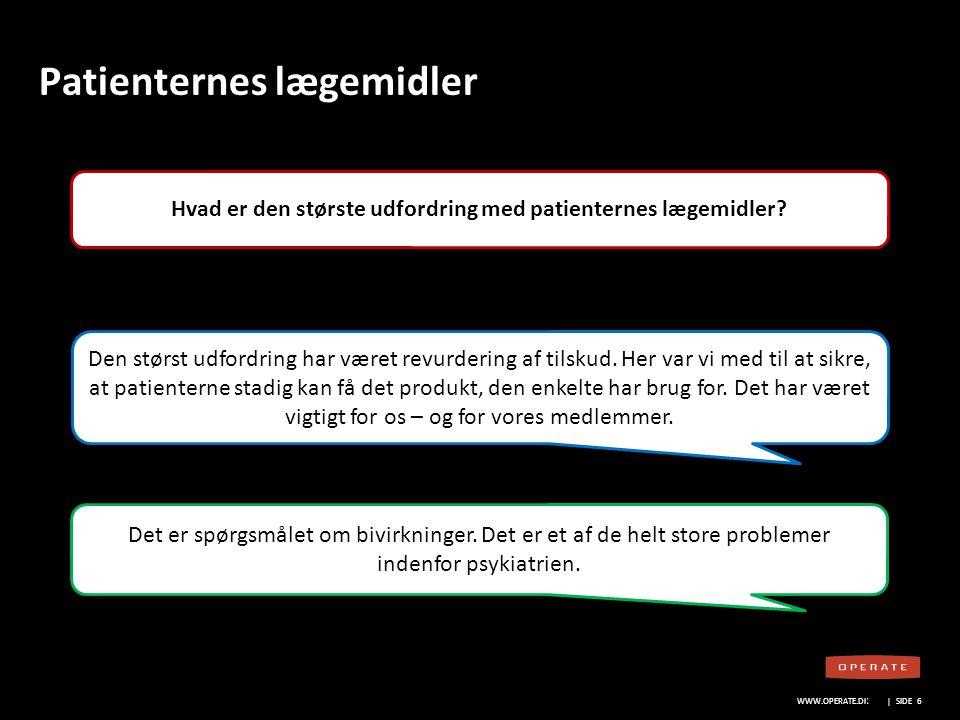 WWW.OPERATE.DK Blankt sort layout WWW.OPERATE.DK | SIDE 7 Patienternes lægemidler Hvad er den største udfordring med patienternes lægemidler.