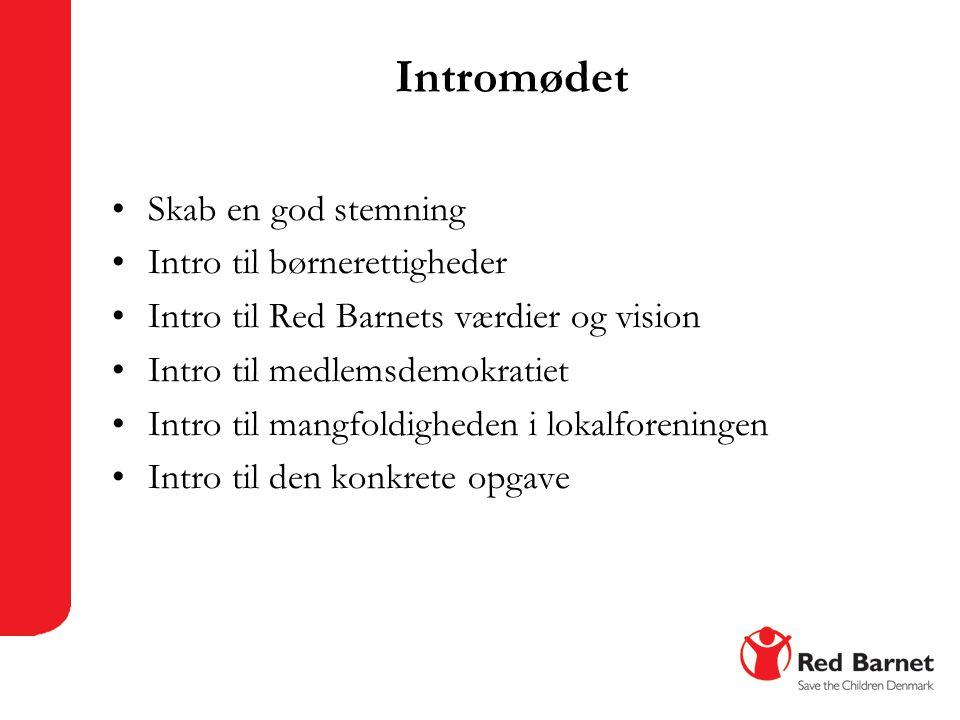 Intromødet •Skab en god stemning •Intro til børnerettigheder •Intro til Red Barnets værdier og vision •Intro til medlemsdemokratiet •Intro til mangfoldigheden i lokalforeningen •Intro til den konkrete opgave