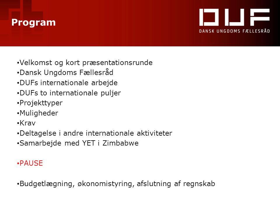 Program • Velkomst og kort præsentationsrunde • Dansk Ungdoms Fællesråd • DUFs internationale arbejde • DUFs to internationale puljer • Projekttyper •