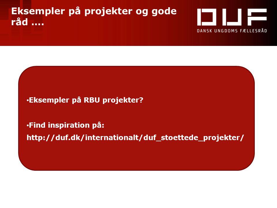 Eksempler på projekter og gode råd …. • Eksempler på RBU projekter? • Find inspiration på: http://duf.dk/internationalt/duf_stoettede_projekter/