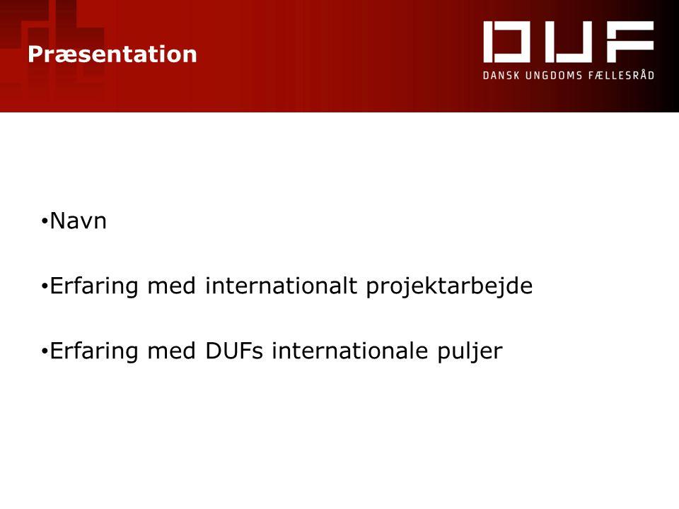 Præsentation • Navn • Erfaring med internationalt projektarbejde • Erfaring med DUFs internationale puljer