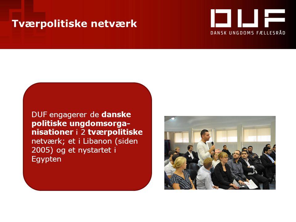 Tværpolitiske netværk DUF engagerer de danske politiske ungdomsorga- nisationer i 2 tværpolitiske netværk; et i Libanon (siden 2005) og et nystartet i