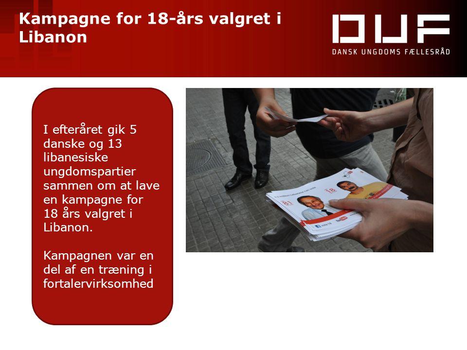 Kampagne for 18-års valgret i Libanon I efteråret gik 5 danske og 13 libanesiske ungdomspartier sammen om at lave en kampagne for 18 års valgret i Lib