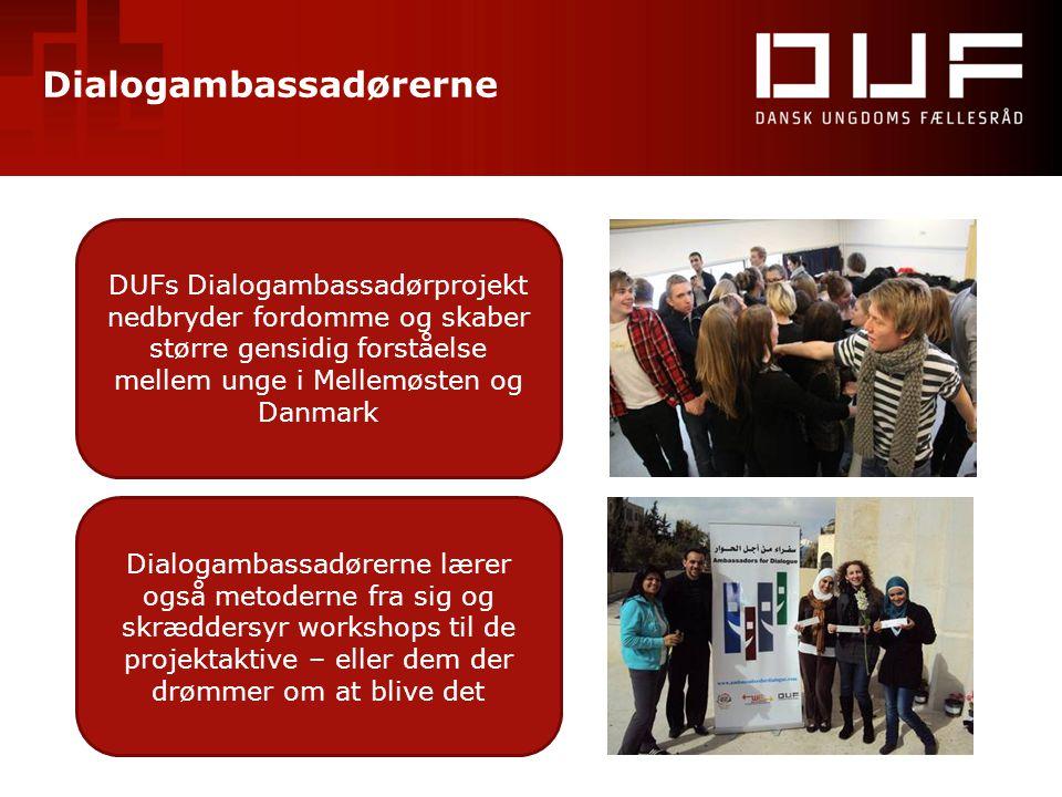 Dialogambassadørerne DUFs Dialogambassadørprojekt nedbryder fordomme og skaber større gensidig forståelse mellem unge i Mellemøsten og Danmark Dialoga