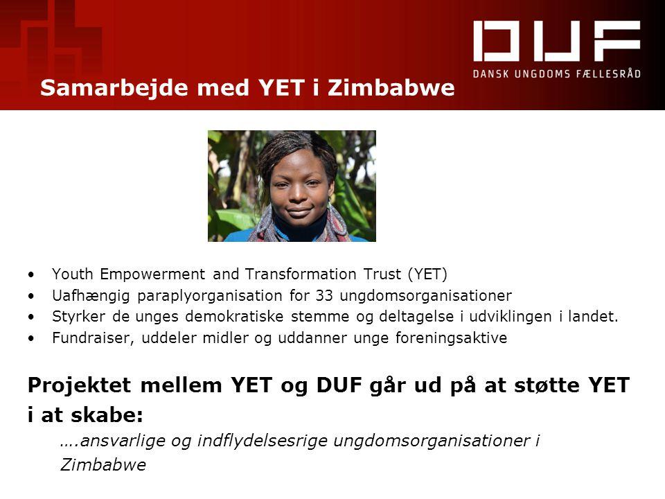Samarbejde med YET i Zimbabwe •Youth Empowerment and Transformation Trust (YET) •Uafhængig paraplyorganisation for 33 ungdomsorganisationer •Styrker d