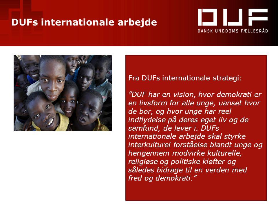 """DUFs internationale arbejde Fra DUFs internationale strategi: """"DUF har en vision, hvor demokrati er en livsform for alle unge, uanset hvor de bor, og"""