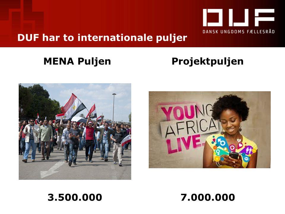 DUF har to internationale puljer MENA PuljenProjektpuljen 3.500.0007.000.000
