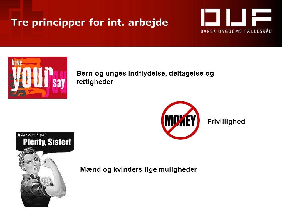 Tre principper for int. arbejde Børn og unges indflydelse, deltagelse og rettigheder Frivillighed Mænd og kvinders lige muligheder