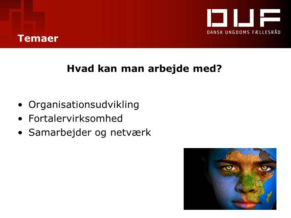 Temaer Hvad kan man arbejde med? •Organisationsudvikling •Fortalervirksomhed •Samarbejder og netværk