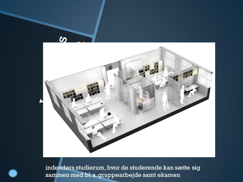 Indendørs studierum indendørs studierum, hvor de studerende kan sætte sig sammen med bl.a. gruppearbejde samt ekamen