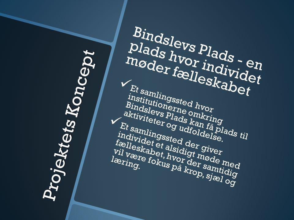 Projektets Koncept Bindslevs Plads - en plads hvor individet møder fælleskabet   Et samlingssted hvor institutionerne omkring Bindslevs Plads kan få plads til aktiviteter og udfoldelse.