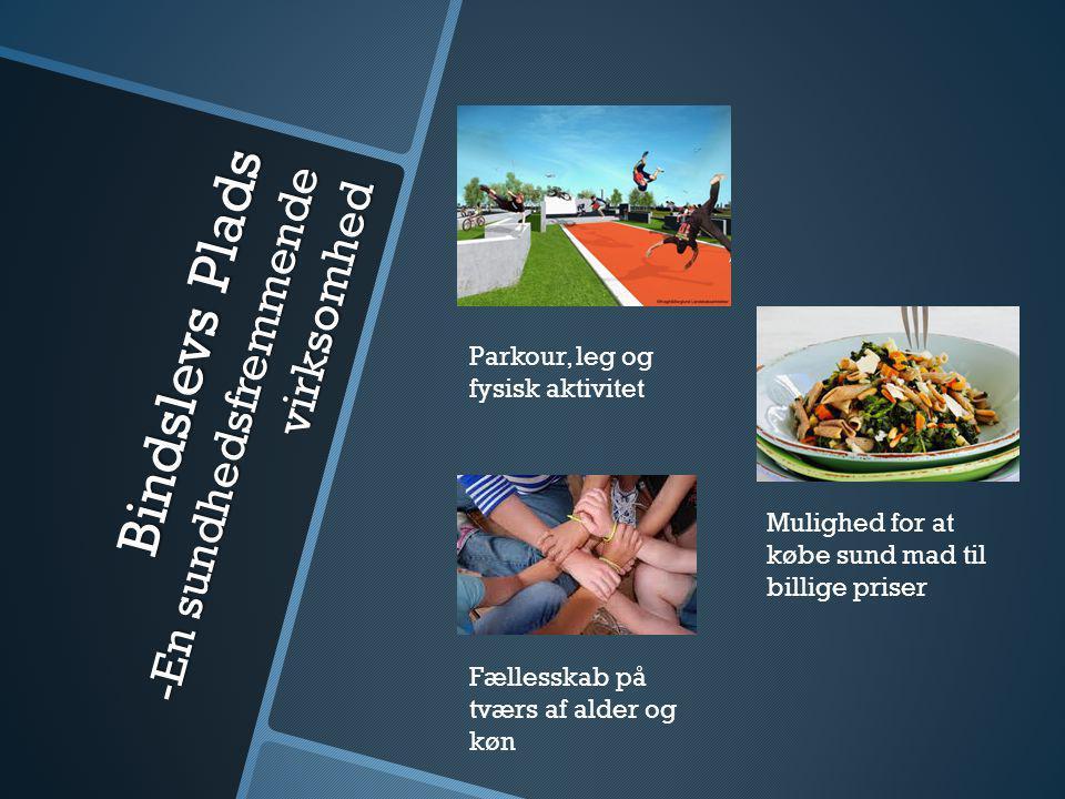 Bindslevs Plads -En sundhedsfremmende virksomhed Parkour, leg og fysisk aktivitet Mulighed for at købe sund mad til billige priser Fællesskab på tværs af alder og køn