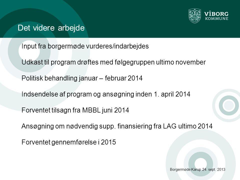 Det videre arbejde Borgermøde Karup 24.sept.