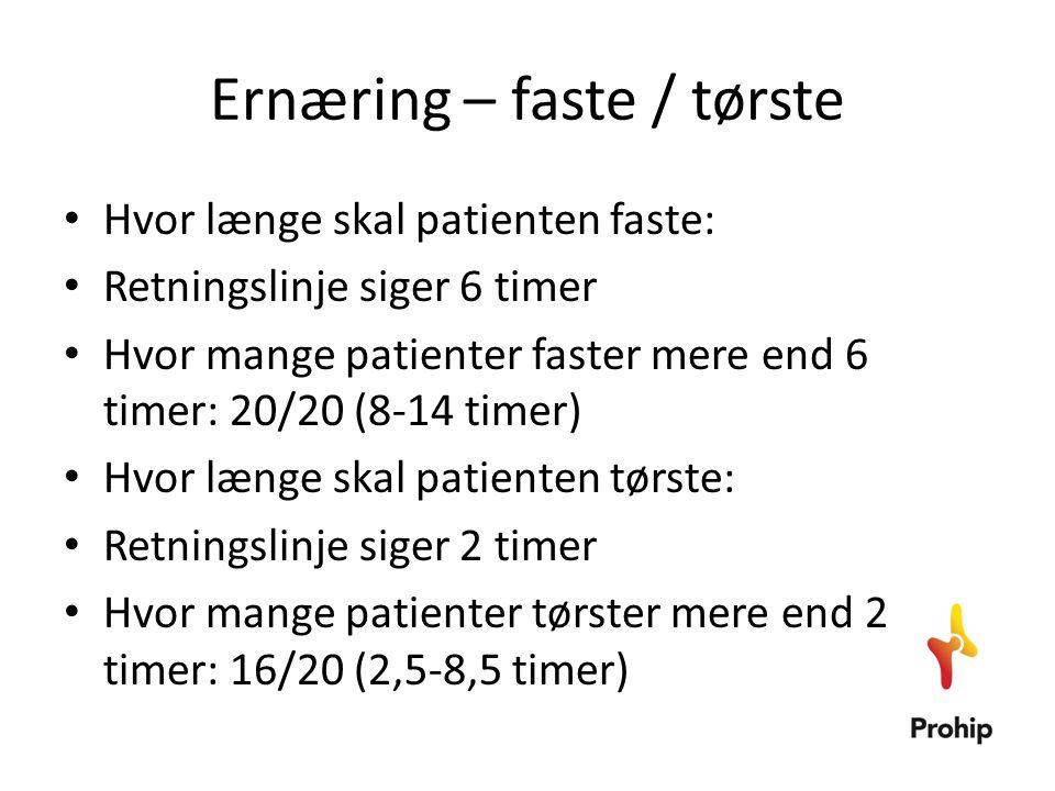 Ernæring – faste / tørste • Hvor længe skal patienten faste: • Retningslinje siger 6 timer • Hvor mange patienter faster mere end 6 timer: 20/20 (8-14