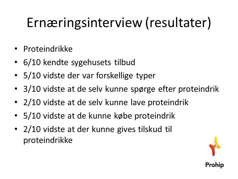 Ernæringsinterview (resultater) • Proteindrikke • 6/10 kendte sygehusets tilbud • 5/10 vidste der var forskellige typer • 3/10 vidste at de selv kunne