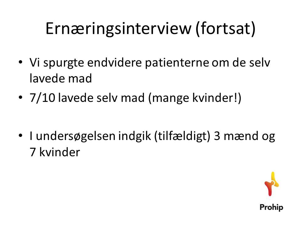 Ernæringsinterview (fortsat) • Vi spurgte endvidere patienterne om de selv lavede mad • 7/10 lavede selv mad (mange kvinder!) • I undersøgelsen indgik