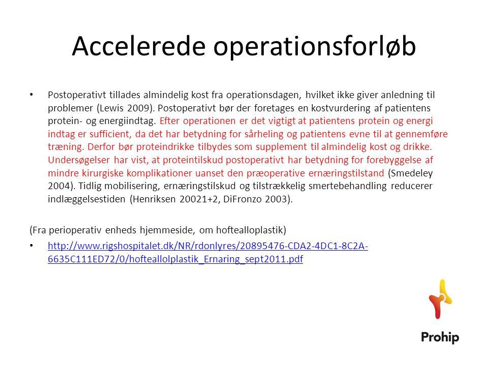 Ernæring (hvordan står det så til i egen afdeling) • Vi ville lave undersøgelse af 20 hoftealloplastikpatienter i DK og 20 patienter i Sverige • Højde • Vægt (ved indlæggelse, ved udskrivelse, efter 14 dage) • Kostregistrering (0., 1., 2.