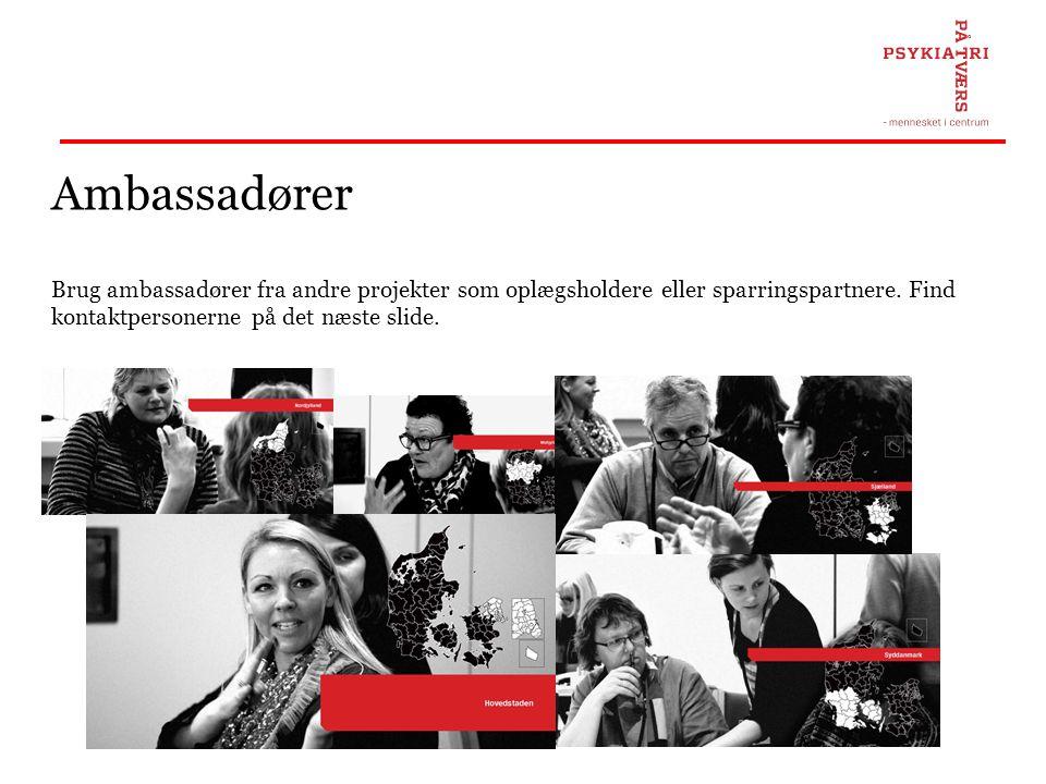 Ambassadører Brug ambassadører fra andre projekter som oplægsholdere eller sparringspartnere. Find kontaktpersonerne på det næste slide.