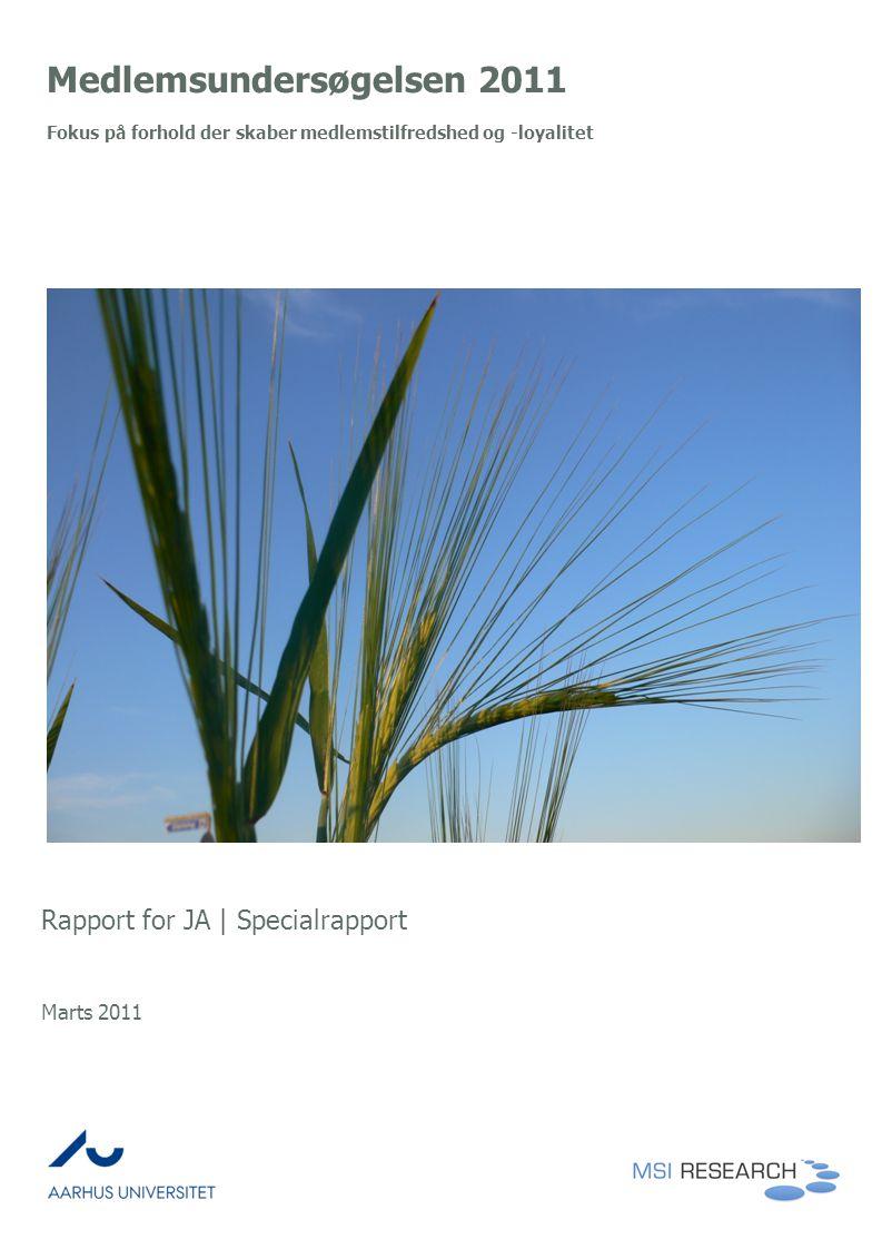 Medlemsundersøgelsen 2011 Fokus på forhold der skaber medlemstilfredshed og -loyalitet Rapport for JA | Specialrapport Marts 2011