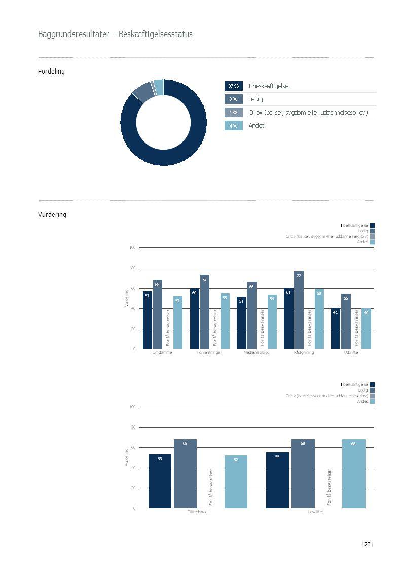 Baggrundsresultater - Beskæftigelsesstatus Fordeling Vurdering [23]