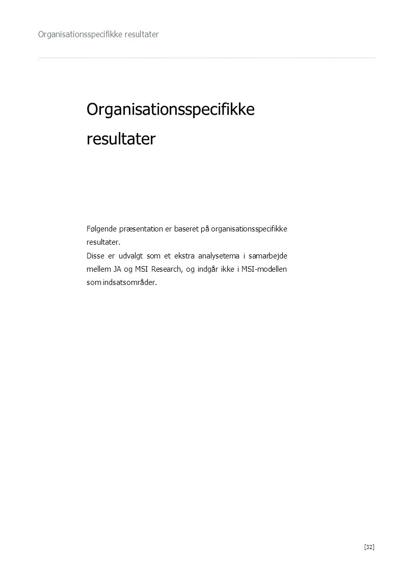 Organisationsspecifikke resultater Følgende præsentation er baseret på organisationsspecifikke resultater. Disse er udvalgt som et ekstra analysetema