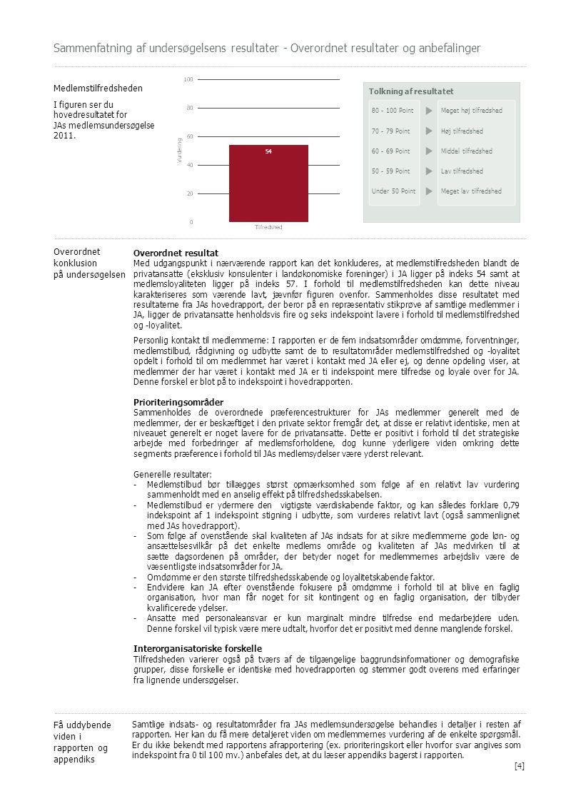 Sammenfatning af undersøgelsens resultater - Overordnet resultater og anbefalinger Medlemstilfredsheden I figuren ser du hovedresultatet for JAs medle