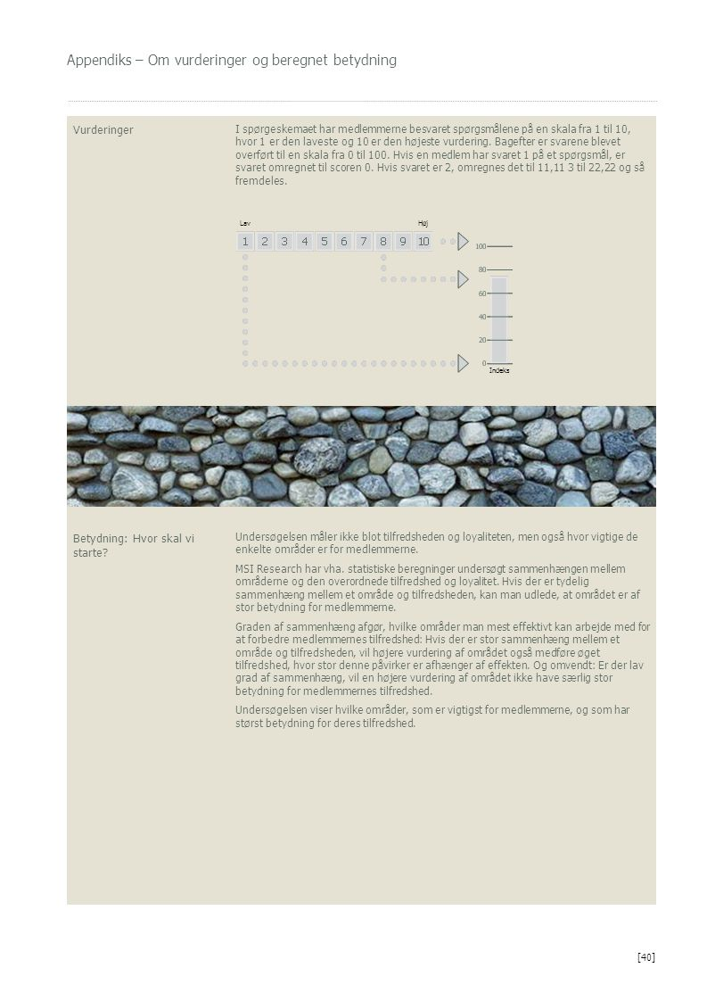 Appendiks – Om vurderinger og beregnet betydning Vurderinger I spørgeskemaet har medlemmerne besvaret spørgsmålene på en skala fra 1 til 10, hvor 1 er