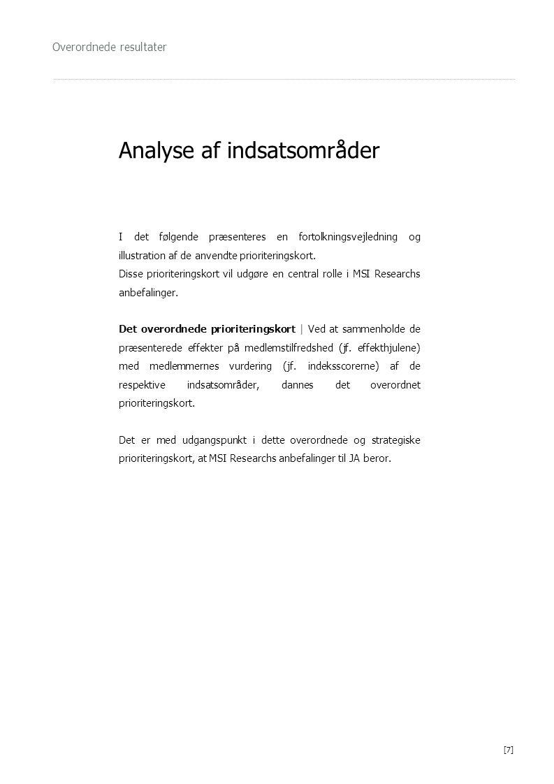 Overordnede resultater Analyse af indsatsområder I det følgende præsenteres en fortolkningsvejledning og illustration af de anvendte prioriteringskort.