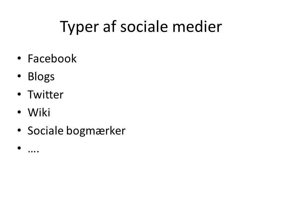 Typer af sociale medier • Facebook • Blogs • Twitter • Wiki • Sociale bogmærker • ….