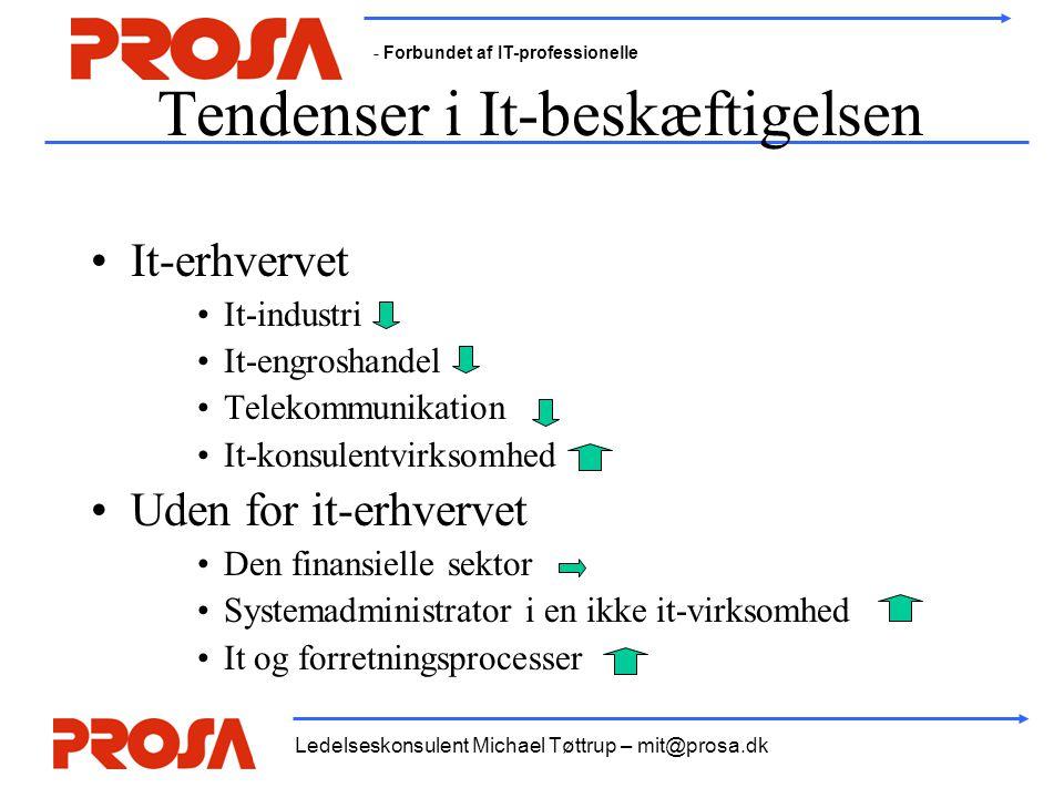 - Forbundet af IT-professionelle Ledelseskonsulent Michael Tøttrup – mit@prosa.dk Tendenser i It-beskæftigelsen •It-erhvervet •It-industri •It-engroshandel •Telekommunikation •It-konsulentvirksomhed •Uden for it-erhvervet •Den finansielle sektor •Systemadministrator i en ikke it-virksomhed •It og forretningsprocesser