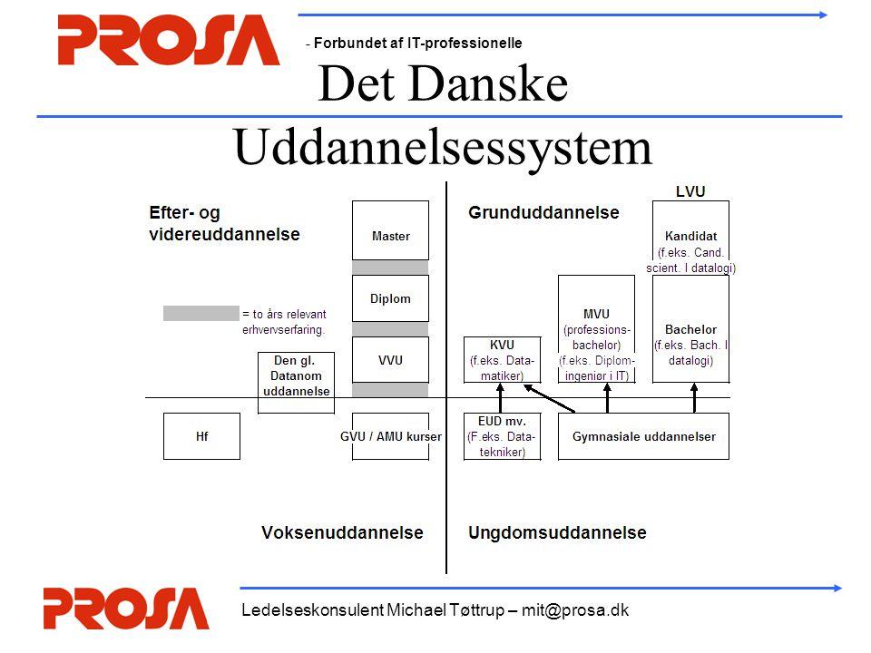 - Forbundet af IT-professionelle Ledelseskonsulent Michael Tøttrup – mit@prosa.dk Det Danske Uddannelsessystem