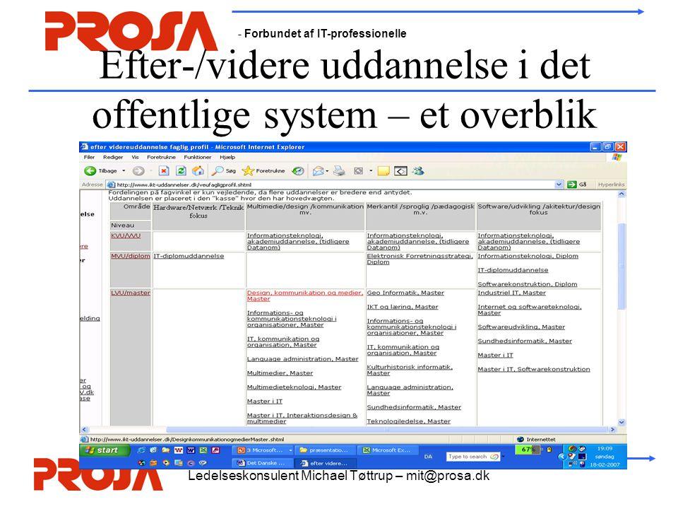 - Forbundet af IT-professionelle Ledelseskonsulent Michael Tøttrup – mit@prosa.dk Efter-/videre uddannelse i det offentlige system – et overblik