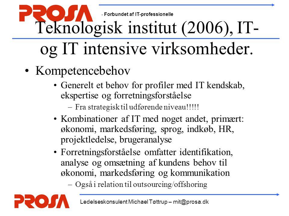 - Forbundet af IT-professionelle Ledelseskonsulent Michael Tøttrup – mit@prosa.dk Teknologisk institut (2006), IT- og IT intensive virksomheder. •Komp