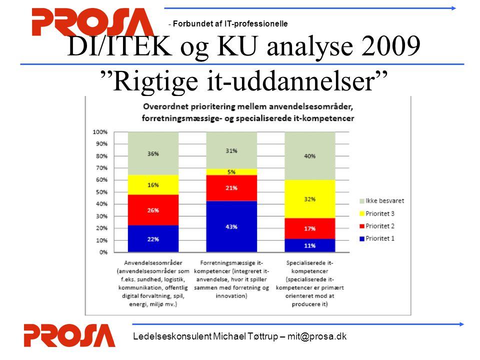 - Forbundet af IT-professionelle Ledelseskonsulent Michael Tøttrup – mit@prosa.dk DI/ITEK og KU analyse 2009 Rigtige it-uddannelser
