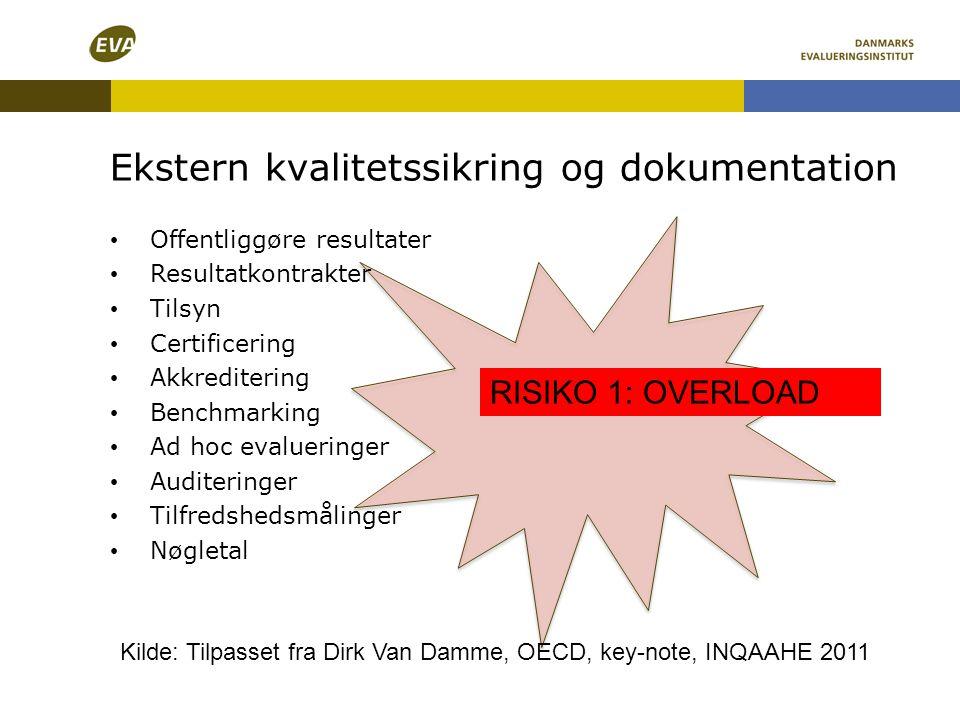 Ekstern kvalitetssikring og dokumentation RISIKO 1: OVERLOAD • Offentliggøre resultater • Resultatkontrakter • Tilsyn • Certificering • Akkreditering